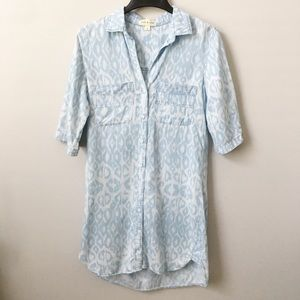 Anthro Cloth & Stone Chambray Animal Print Dress
